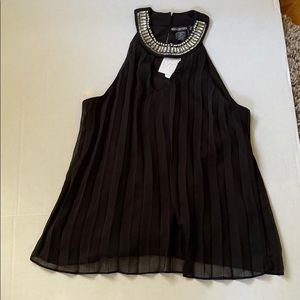 Miss Chievous pleated black lined sheer top S L